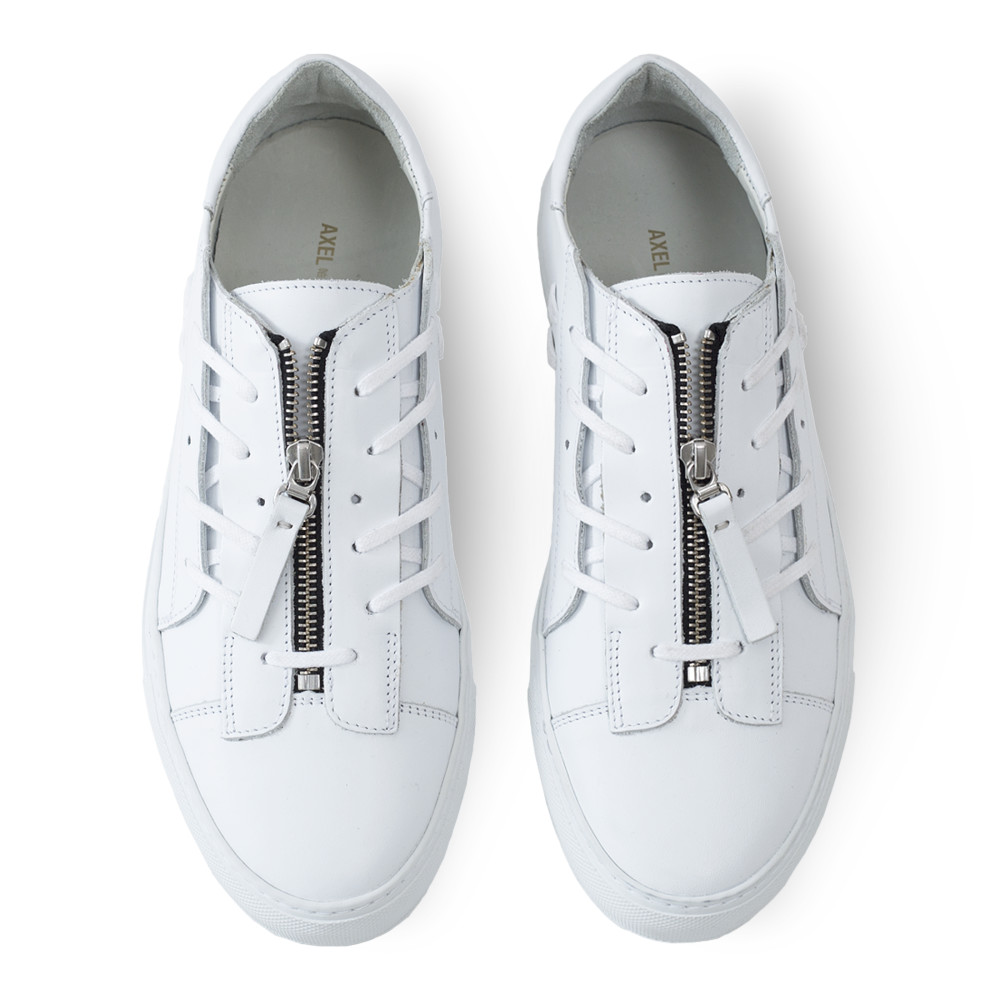 Crossed Laced Sneaker, White Leather
